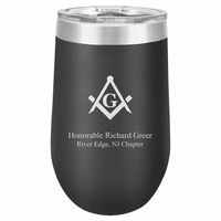 Masonic Emblem 16 Ounce Black Insulated Stemless Wine Glass