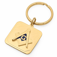 Masonic Emblem Brass Key Ring