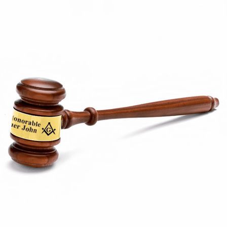 Masonic Wooden Gavel With Personalized Gold Band