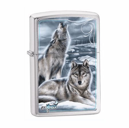 Mazzi Winter Wolves Brushed Chrome Zippo Lighter - ID# 28002 - Discontinued