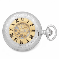 Mechanical Sterling Silver Pocket Watch and Chain by Charles Hubert #3580 - Discontinued