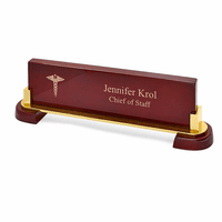 Medical Desktop Walnut Name Bar