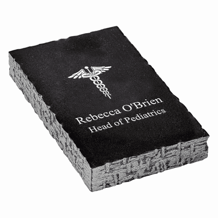 Medical Emblem Personalized Black Marble Paperweight