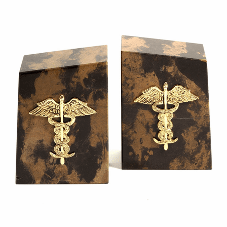 Medical Symbol Black & Gold Marble Bookends