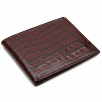 Men's Bifold Crocodile Print Italian Leather Credit Card Wallet