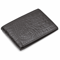 Men's Bifold Crocodile Print Italian Leather Wallet with ID Flap
