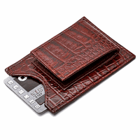 Men's Crocodile Print Italian Leather Money Clip Wallet