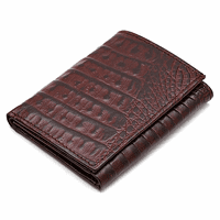 Men's Trifold Crocodile Print Italian Leather Wallet