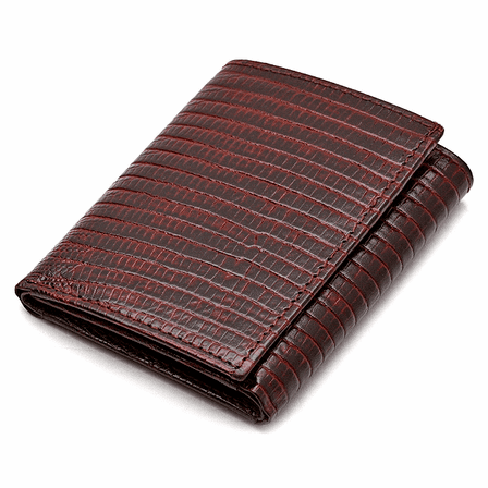 Men's Trifold Lizard Print Italian Leather Wallet