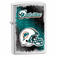 Miami Dolphins NFL Brushed Chrome Zippo Lighter - ID# 28595