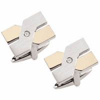 Milan Collection Stainless Steel & 18 Karat Gold Cufflinks - Discontinued