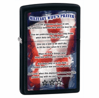 Military Wife's Prayer Black Matte Zippo Lighter - ID# 28315