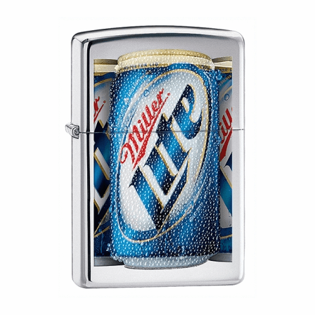 Miller Lite High Polish Chrome Zippo Lighter - ID# 28250