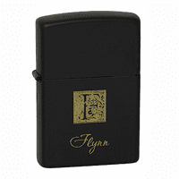 Last Name Monogram Black Matte Zippo Lighter