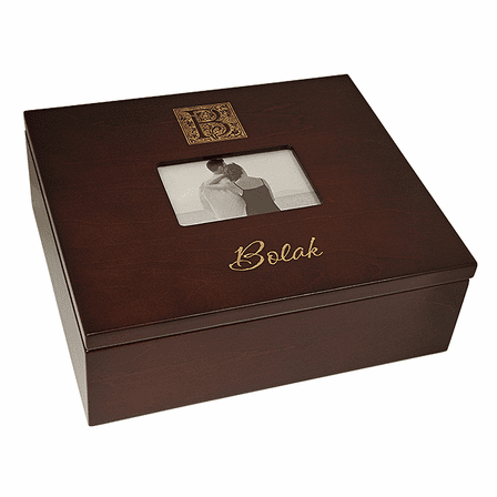 Monogram Keepsake Box With Picture Frame Lid Executive Gift Shoppe