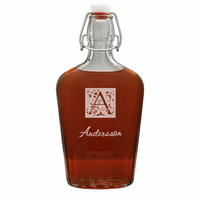 Monogram Large Vintage Glass Flask