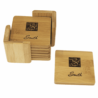 Monogram  Square Bamboo Coaster Set