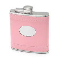 Monogrammed Pink Leather Flask