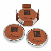 Monogrammed Rawhide And Silver Round Coaster Set
