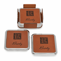 Monogrammed Rawhide And Silver Square Coaster Set