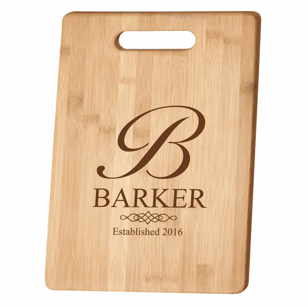 Monogrammed with Date Bamboo Cutting Board
