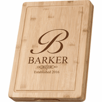 Monogrammed with Date Grooved Bamboo Cutting Board
