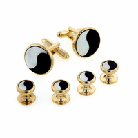 Mother of pearl and onyx cufflinks and shirt stud Ying and Yang formal set