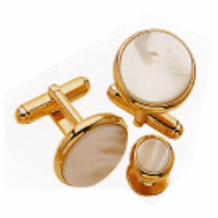 Mother of Pearl w/Radius Edge Genuine Stone Cufflinks