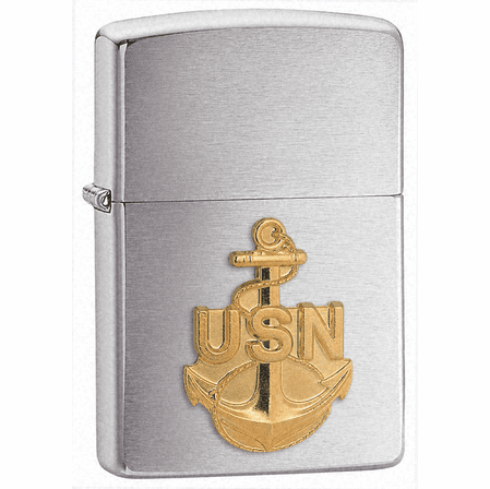 Navy Anchor Emblem Brushed Chrome Zippo Lighter - ID# 280ANC