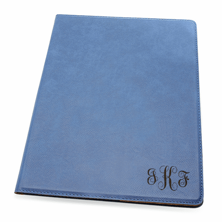 Navy Blue Small Portfolio & Notebook with Script Monogram