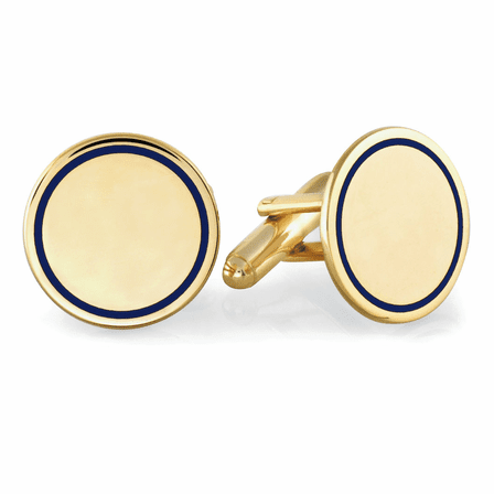 Navy Collection Gold Plated Monogrammed Cufflinks