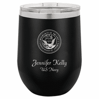 Navy Emblem 12 Ounce Black Insulated Stemless Wine Glass