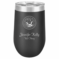 Navy Emblem 16 Ounce Black Insulated Stemless Wine Glass