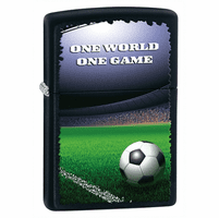 One World One Game Black Matte Zippo Lighter - ID# 28301 - Discontinued