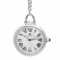 Open Face  Silver Quartz Charles Hubert Pocket Watch & Chain #3758