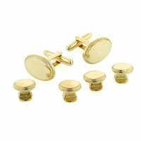 Oval beaded edge cufflinks and shirt studs formal set