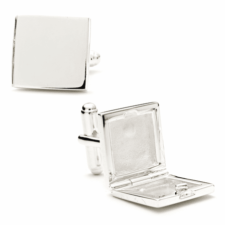 Palladium Square Engravable Locket Cufflinks