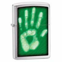 Palm Print Brushed Chrome Zippo Lighter - ID# 28283 - Discontinued