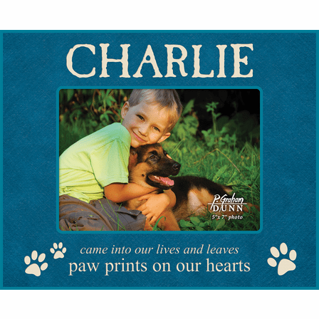 """Paw Prints On Our Hearts Personalized 5"""" x 7"""" Picture Frame"""