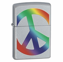 Peace Satin Chrome Zippo Lighter - ID# Z274 - Discontinued