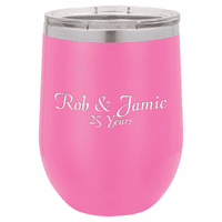Personalized 12 Ounce Pink Insulated Stemless Wine Glass