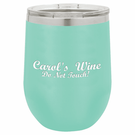 Personalized 12 Ounce Teal Insulated Stemless Wine Glass