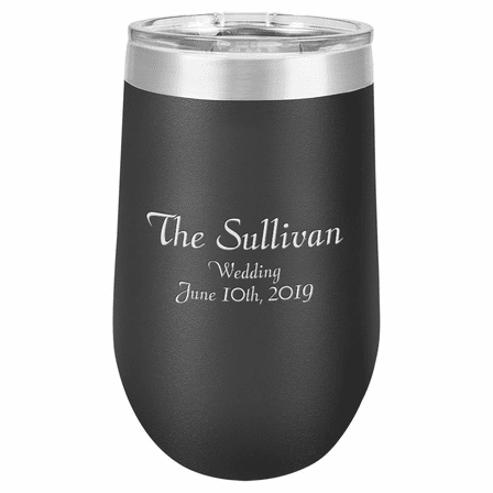Personalized 16 Ounce Black Insulated Stemless Wine Glass
