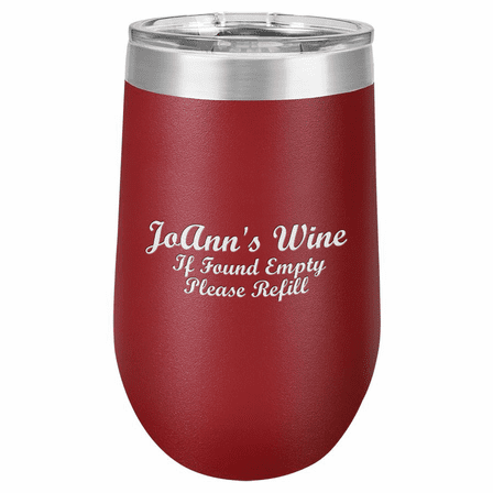 Personalized 16 Ounce Maroon Insulated Stemless Wine Glass