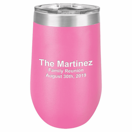 Personalized 16 Ounce Pink Insulated Stemless Wine Glass