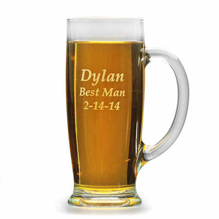 Personalized 18 Ounce Pilsner Glass with Handle