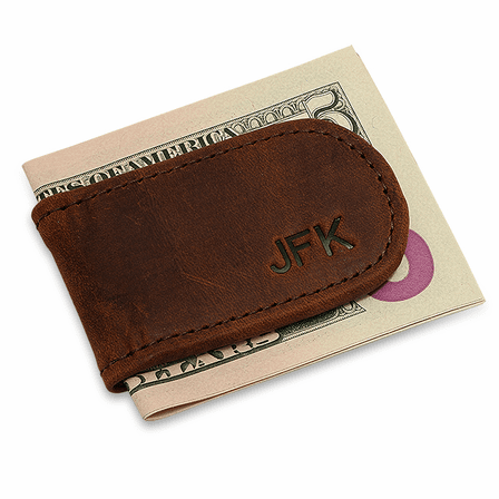 Personalized Antique Leather Magnetic Money Clip