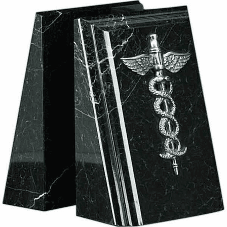Personalized Antiqued Silver Medical Theme Bookends