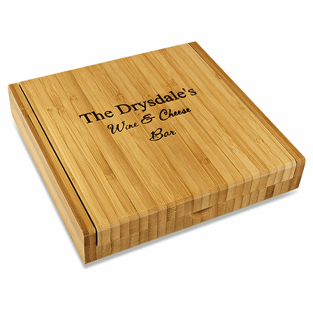 Personalized Bamboo Cheese Set With Tools