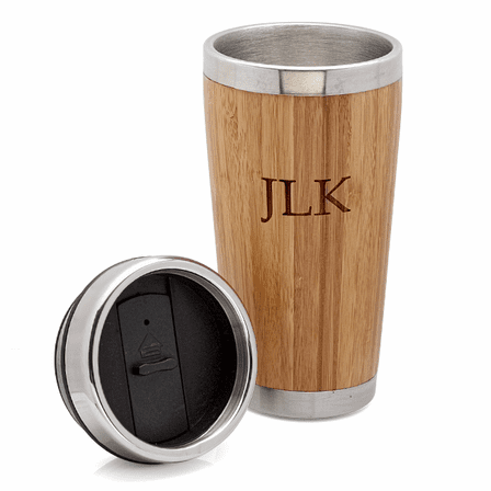 Personalized Bamboo & Steel Travel Mug - Discontinued